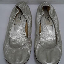 Lanvin Silver Leather Ballet Flats Shoes Italian Size 36 Photo