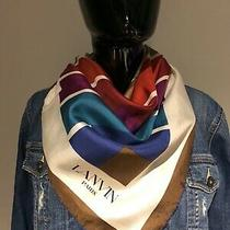 Lanvin Striped Blue Brown White Purple Red Silk Square Geometric Scarf Photo