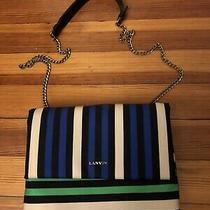 Lanvin Sugar Mini Striped Satin Shoulder Bag Blue New W/o Tags Photo