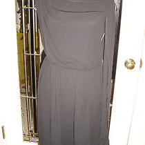 Lanvin Sz 44 France Black  S/l Knee Length Dress Elastic Waist Draped Neck Photo