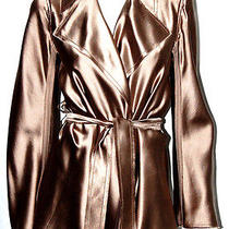 Lanvin Taupe Raw-Edge Silk Satin Belted Jacket 40 Photo