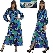 Lanvin Vintage 60s Boho Hippie Mod Abstract Geometric Designer Maxi Shirt Dress Photo