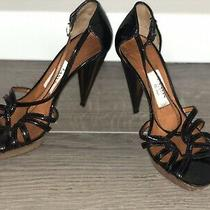 Lanvin Womens Black Patent Leather Chain Ankle Strap Sandals Size 37.5 Photo