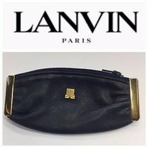 Lanvin  Womens Navy Leather Coin Purse /wallet Logo Zipper  L 5 X H 2 1/2 Photo