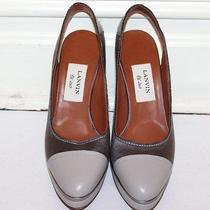Lanvin Women's Shoes Pumps Gray Leather & Silk Slings Size 38.5 Eur Photo