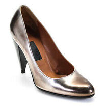 Lanvin Womens Leather Metallic High Heel Pumps Gold Size 36 6 Ll19ll Photo