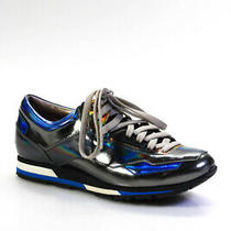 Lanvin Womens Low Tope Lace Up Metallic Sneakers Silver Blue Size 38 It Photo