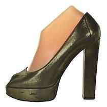 Lanvin Womens Shoes Size 38 7 Gold Black Pumps Peep Toe Heels Textile Leather Photo