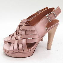 Lanvin Woven Satin Platform Sandal Antique Rose Size 39 Photo