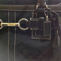 Large Authentic Black Coach Satchel Leather and Signature Canvas  Photo