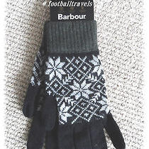 Large Barbour Lambswool Gloves Black / Grey New Tags Mens Womens Made in Uk  Photo