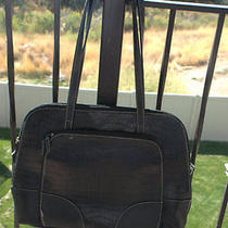 Large Black Faux-Croc Laptop Bag/ Carryall Photo