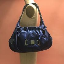 Large Botkier's Hobo Bag Purse Satchel Dark Blue Satin Leather Strapping Travel Photo