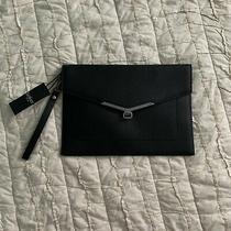 Large Botkier Valentina Black Leather Envelope Flap Clutch Wristlet Wallet 88 Photo