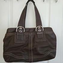 Large Brown Leather Coach Purse  Photo