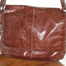 Large Brown Leather Fossil Messenger Laptop Bag Photo