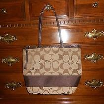 Large Brown Signature Coach Tote Photo