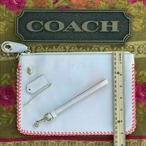 Large Coach Chalk White Leather Portfolio Wristlet Clutch Pink Whipped Stitching Photo