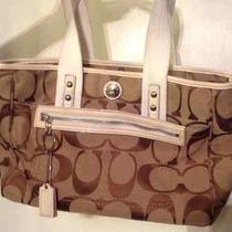 Large Coach Signature Handbag Purse -Very Good Condition. Photo