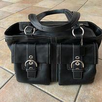 Large Coach Soho Black Leather Double Pocket Purse Shoulder/handbag Satchel Tote Photo