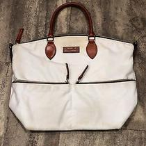 Large Dooney and & Bourke Handbag Sholder Bag Purse White/cream Brown Leather Photo