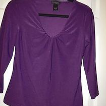 Large Express Purple Polyester Stretch 3/4 Sleeves Knit Top Photo