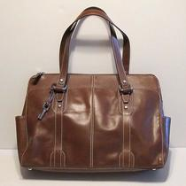 Large Fossil Brown Leather Briefcase Laptop Executive Bag Purse Unisex Messenger Photo