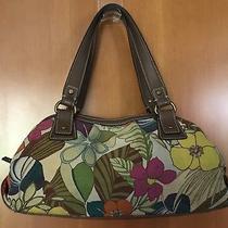 Large Fossil Floral Print Canvas Shoulder Bag Handbag Purse  Photo