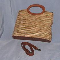 Large Fossil Leather Straw Shoulder Hand Bag Purse-75082-Multi Color Weave-Ec Photo