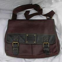 Large Fossil Leather Vintage Messenger / Computer Bag Brown  Photo