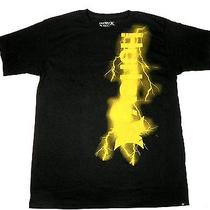 Large Hurley Men's Tee Shirt Classic Fit Yellow Lightning Bolt Photo