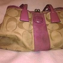 Large Light Brown and Purple Coach Bag  Photo
