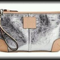 Large New Coach Metallic Silver Natural Tan Wristlet Convertible Purse  Adorable Photo