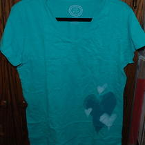 Large Nwt 32 Women's Life Is Good Aqua Fitted Oxide Wash Heart Hearts Ss Tee L Photo