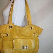 Large Oversized Maxx New York Soft Leather Yellow Hobo Tote Handbag Purse Photo