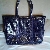 Large Purple Croc-Embossed Laptop Carry Bag Photo
