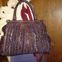 Large Purple Rhapsody Ruffle Leather & Snake Skin Handbag by Betsey Johnson Photo