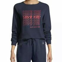 Large Rebecca Minkoff Sweater Jennings Love You Crew Neck Sweatshirt Navy Photo