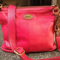 Large Red Leather Fossil Crossbody Purse - Nice Photo