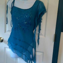 Large Turquoise One Shoulder  Blouse/evening Top Photo