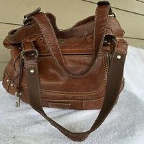 Large Vintage Fossil Whiskey Colored Leather Satchel Hobo Tote Shoulder Handbag Photo
