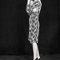 Large Winter Kate Black White Herringbone Print Silk Open Back Pinup Dress  Photo