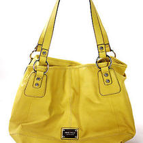 Large Yellow Tote Handbag by Nine West Ladies Purse Beige Interior One Handle Photo