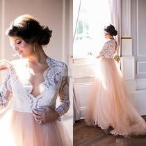 Latest Long Sleeve Blush Wedding Dresses 2016 Custom Made Vintage Bridal Gowns Photo