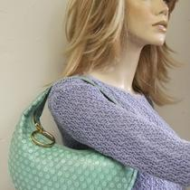 Latico Aqua Polka Dot-Embossed Leather Half-Moon Hobocarried Oncesale Photo