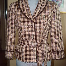 Laundry Basic Jacket Plaids & Checks Browns Acrylic Size 4 Photo