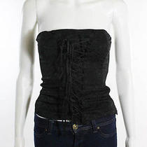Laundry Black Floral Lace Up Front Strapless Boned Corset Top Blouse Sz Xs Photo