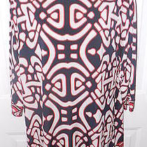Laundry by Design Red White Navy Blue Print Sheath Mini Dress 10 Chic Photo