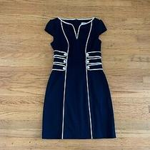 Laundry by Design Womens Sz 2 Navy White Piping Buttons Sheath Dress  Photo