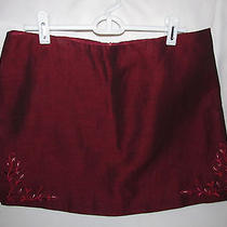 Laundry by Selli Segal Mini Skirt Size 10 53% Linen 47% Rayon  Burgandy Shimmer Photo